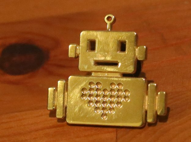 Robot Heart - Small necklace in Polished Gold Steel