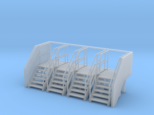 Factory Stairs in HO Scale - 4 sets in Smooth Fine Detail Plastic