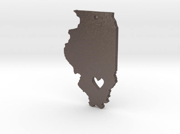 I heart Illinois Pendant in Polished Bronzed Silver Steel