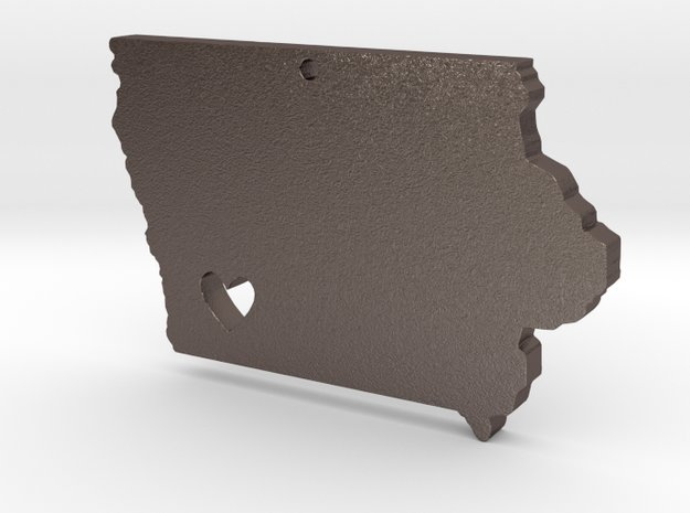 I Love Iowa Necklace in Polished Bronzed Silver Steel