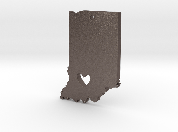 I Heart Indiana Pendant in Polished Bronzed Silver Steel