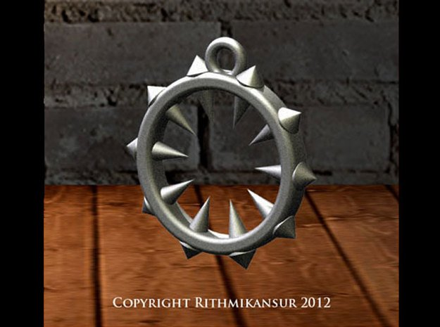 Ring of Spikes Pendant in Polished Bronzed Silver Steel