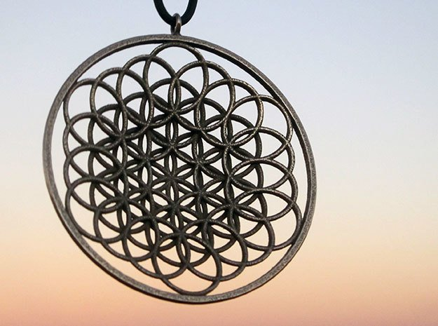 Flower Of Life Pendant - w Loopet - 6cm in Polished Bronzed Silver Steel