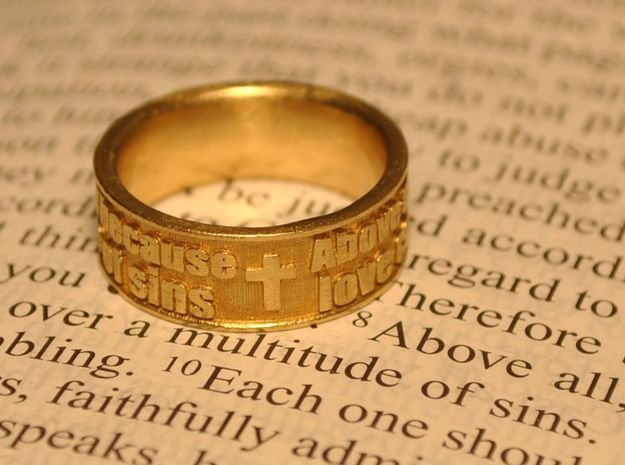 Bible Verse Ring Size 7.5 in Natural Brass