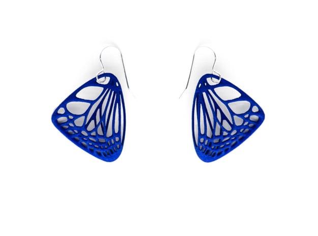 Butterfly Earrings (S) Plastic in Blue Processed Versatile Plastic