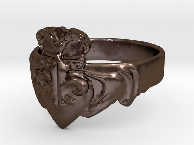 NOLA Claddagh, Ring Size 11 in Polished Bronze Steel