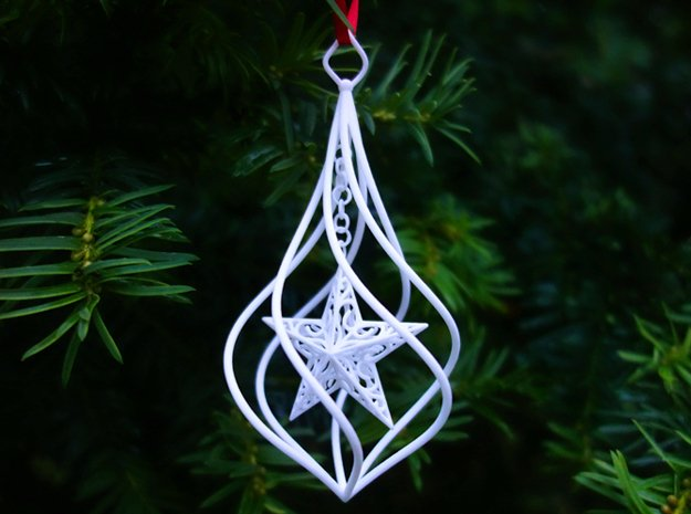 Christmas Tree Ornament (Bauble) - Spinning Star in White Processed Versatile Plastic