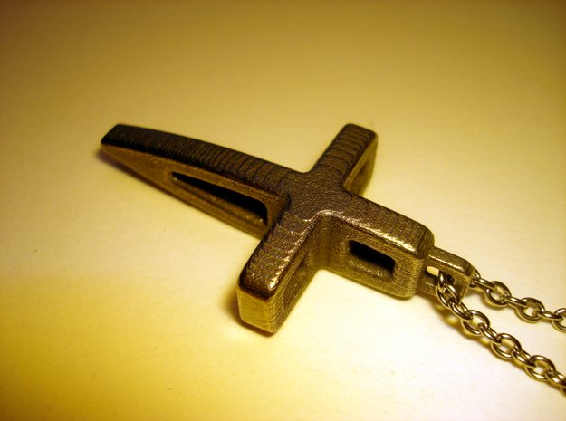 Structural Cross Pendant in Polished Bronzed Silver Steel