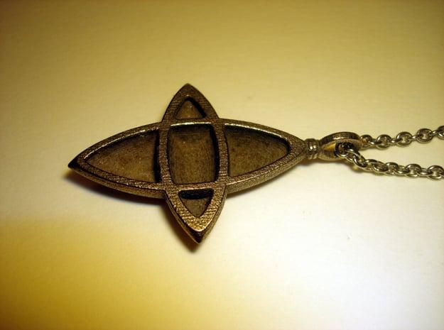 Elliptical Cross Pendant in Polished Bronzed Silver Steel