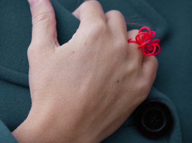 Fronds Flower Rings - Various Sizes in Red Processed Versatile Plastic