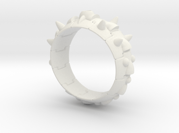Armor Ring 01   (with stone hole) US 7.5 in White Natural Versatile Plastic