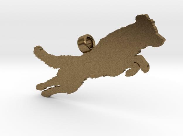 Jumping Golden Retriever Silhouette Pendant in Natural Bronze