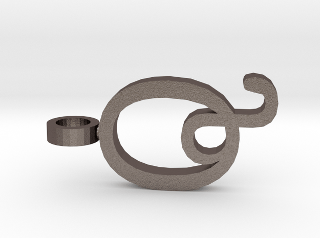 Q Letter Pendant in Polished Bronzed Silver Steel