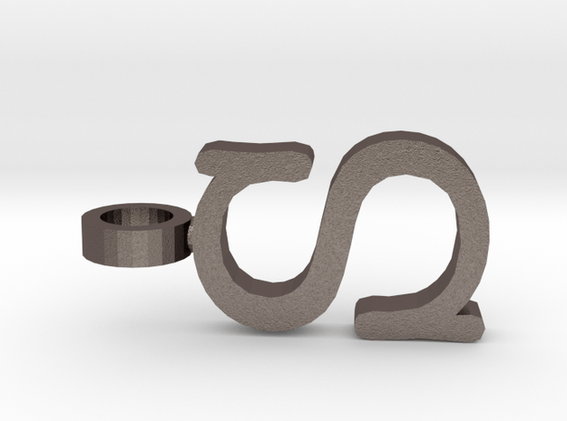S Letter Pendant in Polished Bronzed Silver Steel