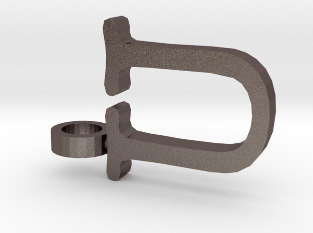 U Letter Pendant in Polished Bronzed Silver Steel