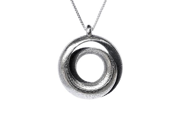 Negative Möbius Pendant in Polished Bronzed Silver Steel