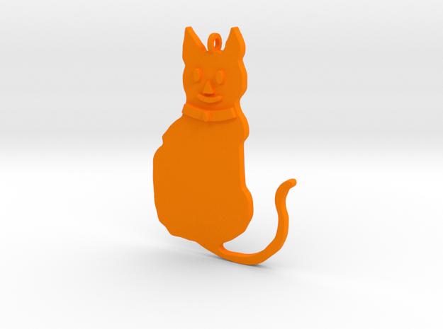 Cat Pendant in Orange Processed Versatile Plastic