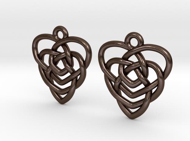 Celtic Motherhood Knot Earrings in Polished Bronze Steel