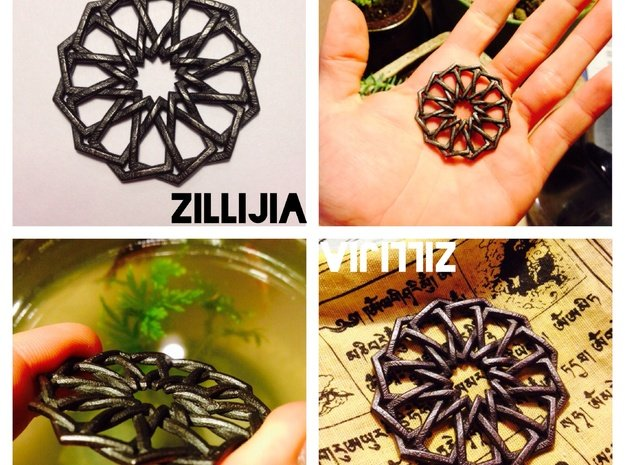 Duodecagonia Pendant in Polished and Bronzed Black Steel