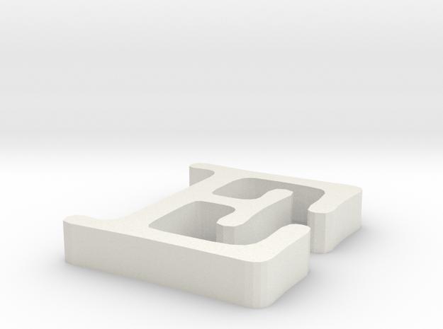 E Letter in White Natural Versatile Plastic