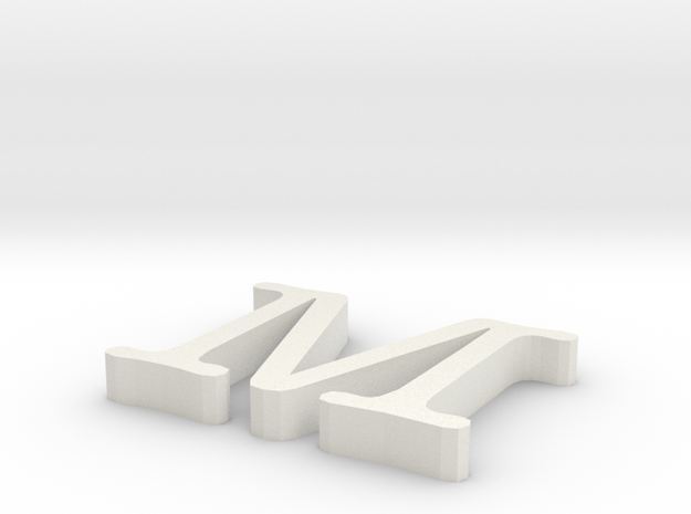 M Letter in White Natural Versatile Plastic