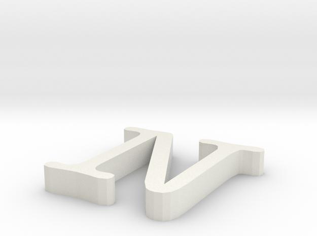 N Letter in White Natural Versatile Plastic