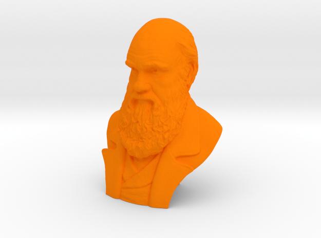 """Charles Darwin 2"""" Bust in Orange Processed Versatile Plastic"""