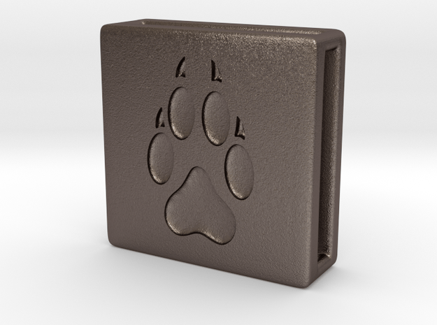 Band Charm square - Pawprint in Polished Bronzed Silver Steel