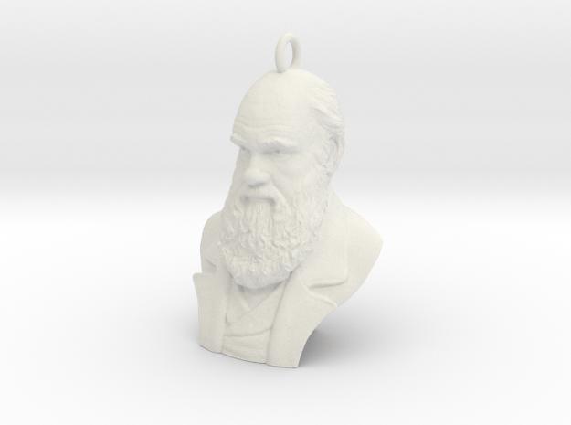 "Charles Darwin 1"" Bust, Pendant, Ear Ring, Charm,  in White Natural Versatile Plastic"