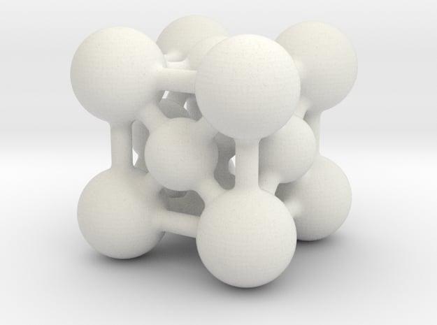 Perovskite (ABO3) Crystal Structure (4cm) in White Natural Versatile Plastic