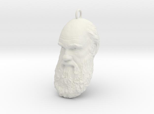 "Charles Darwin 1"" Head, Pendant, Ear Ring, Charm,  in White Natural Versatile Plastic"