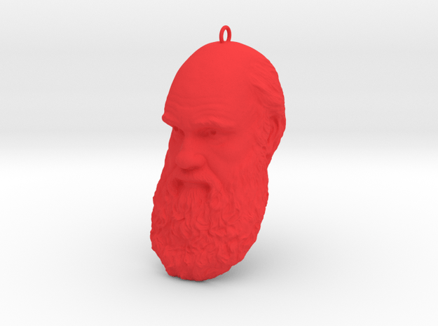 """Charles Darwin 6"""" Head with Hanger, Ornament in Red Processed Versatile Plastic"""