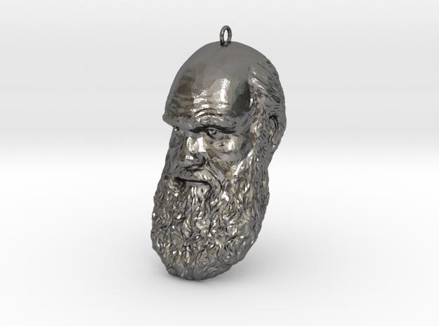"Charles Darwin 6"" Head Decimated in Polished Nickel Steel"