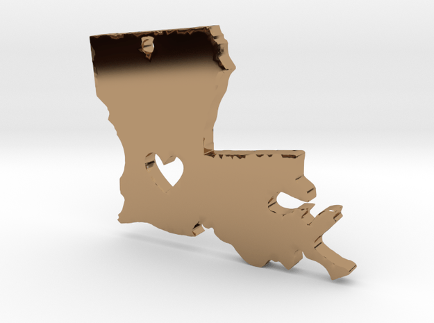 I heart Louisiana Pendant in Polished Brass