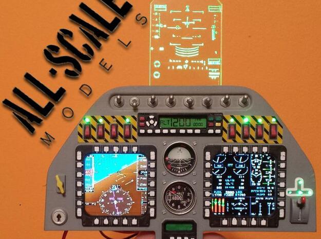 Elite Aerosport Shockwave RC jet instrument  panel in Smooth Fine Detail Plastic