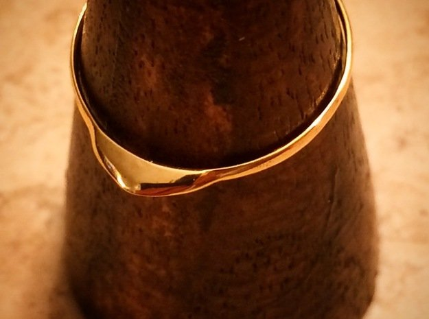 Edge Ring US Size 8 5/8 UK Size R in 18K Gold Plated