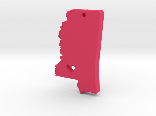 I love Mississippi Pendant in Pink Processed Versatile Plastic