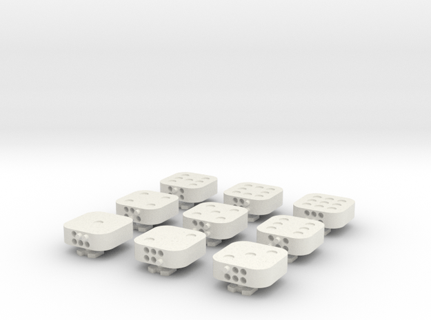 Dancing Dice & Dominoes Puzzle - Part 1/3 (Tiles) in White Natural Versatile Plastic