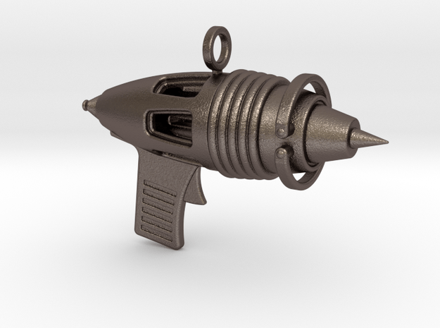 Ray Gun Pendant in Polished Bronzed Silver Steel