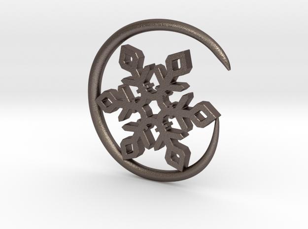 Earhook-Flake in Polished Bronzed Silver Steel