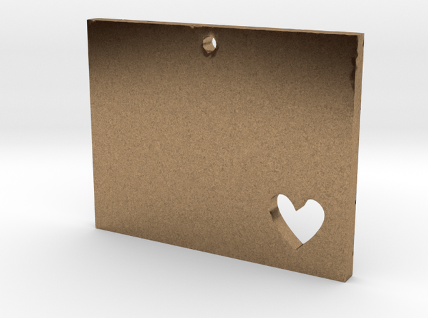 I heart Wyoming Pendant in Natural Brass