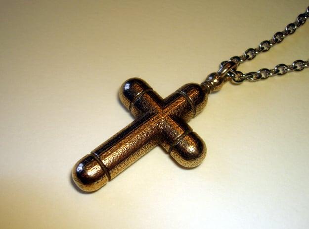 Cross 5 Pendant in Polished Bronzed Silver Steel