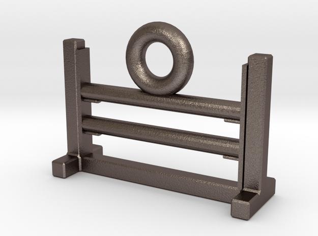 Agility Bar Jump Zipper Charm in Polished Bronzed Silver Steel