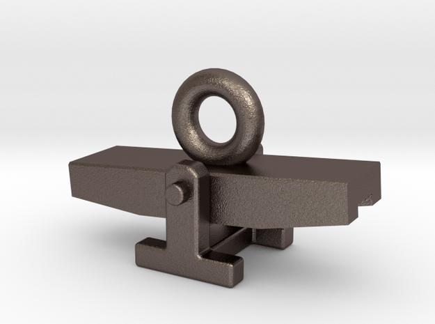 Agility Teeter Zipper Charm in Polished Bronzed Silver Steel
