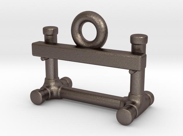 Obedience Bar Jump Zipper Charm in Polished Bronzed Silver Steel