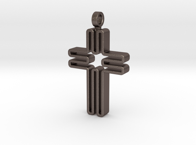 Contemporary Cross Pendant in Polished Bronzed Silver Steel