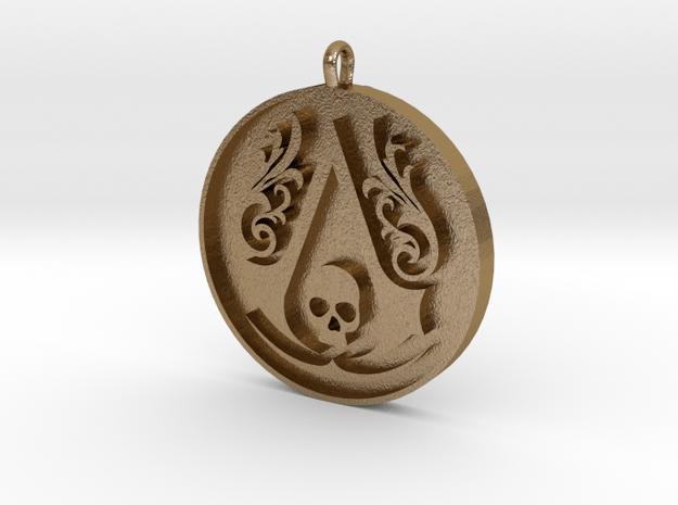 Assassin's Creed - Black Flag Medal Pendant in Polished Gold Steel