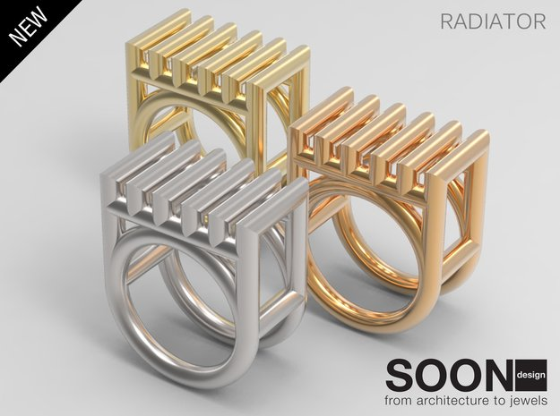 RADIATOR RING - SIZE 7 in Fine Detail Polished Silver