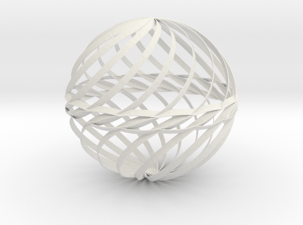 Decorative Ball Twist Spiral V2 in White Natural Versatile Plastic
