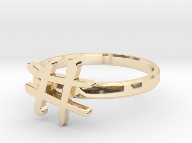 Hashtag Ring Size 6 in 14K Yellow Gold
